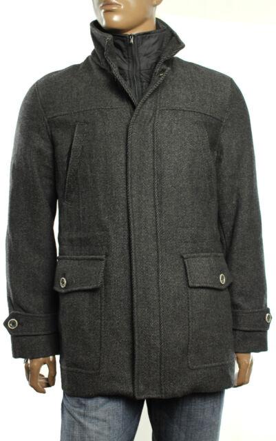 Mens Tasso ELBA Wool Blend Brown Car Coat W Bib Trim M | eBay
