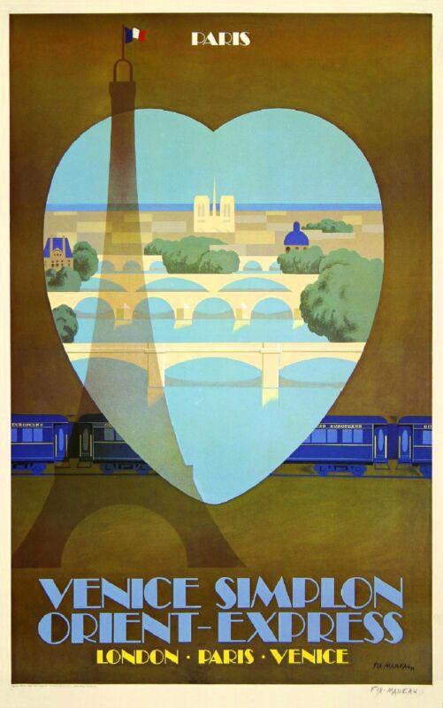 Orient-Express Paris France Italy London European Travel Poster Advertisement