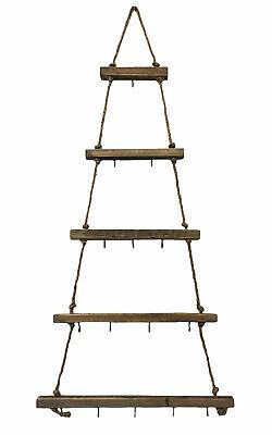 Hängende Leiter 105 cm / 15 Haken Zierschmuck Hängedeko Holz Deko zum Hängen