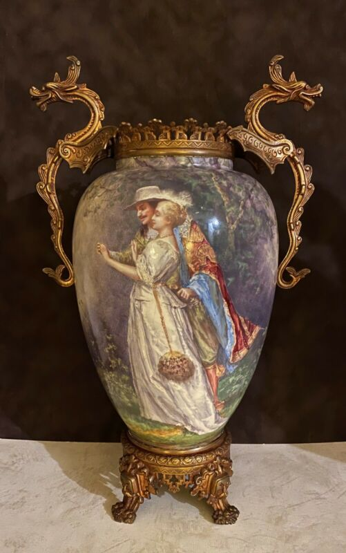 Antique French Choisy-le-Roi Ceramic & Ormoly Hand Painted Vase
