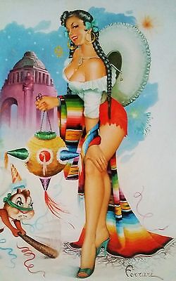 Traditional Mexican Calendar Art pinup girl LA MEXICANA