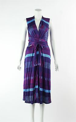 ISSA Wrap Front Printed Knee Length Sleeveless Dress, Size S