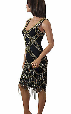 1920's Gatsby Flapper Golden Fringe Deco Hem Embellished Dress Women Plus Size](Plus Size 20s Dress)