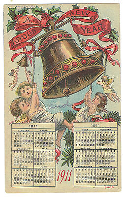 Joyous New Year 1911 greeting card with 1911 calendar
