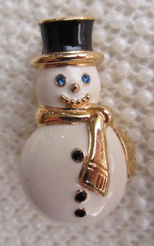 MONET GOLD TONE CREAM ENAMEL SNOWMAN BROOCH PIN CHRISTMAS