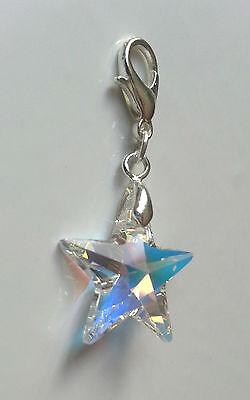 Anhänger Kristall Schmuck Charm Silber mit Swarovski Elements Stern Crystal AB