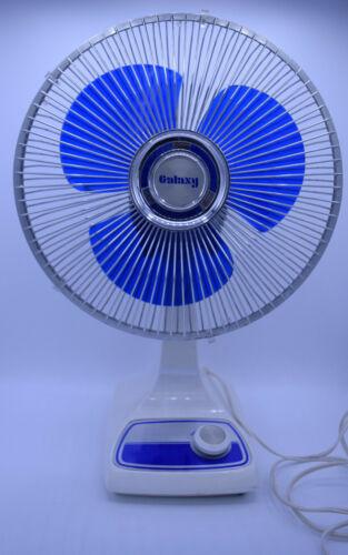 "Vintage Galaxy Oscillating Fan Blue Blade Retro 12"" 2 Speed"