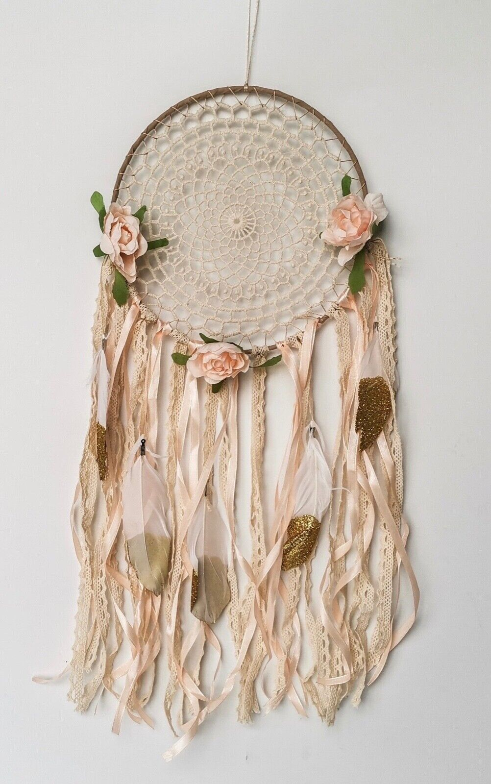 Gold Boho Decor Dream Catcher Kids floral nursery decor for girls bedroom wall Collectibles