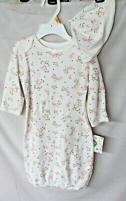 LITTLE ME 100% Cotton Ivory VINTAGE ROSE Gown w/Hat GIRL SIZE 0-3 MO NWT