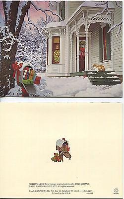 CHRISTMAS VICTORIAN HOUSE ORANGE CAT SUNSET 1 CHICKEN VESUVIO WINE RECIPE CARD