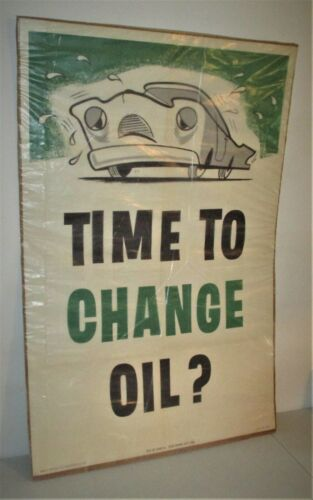 """Sinclair Time to Change Oil? Large Original Paper Poster - 43.25"""" x 28"""" - NICE!"""