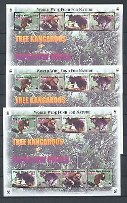 PAPUA NEW GUINEA 2003 TREE KANGAROOS WWF Wildlife MNH SHEET x3 (Pap 41)