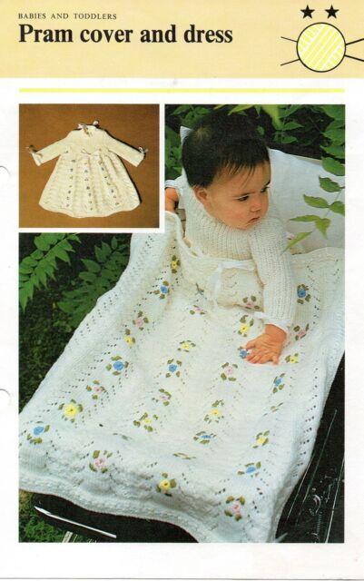 "B1001 Baby Knitting Pattern Pram Cover Dress DK 16"" Repro"