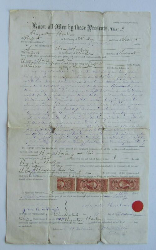 Warranty Deed , Woodstock Vt. 1870 w/ 3  IRS 25 Cents Tax Stamps