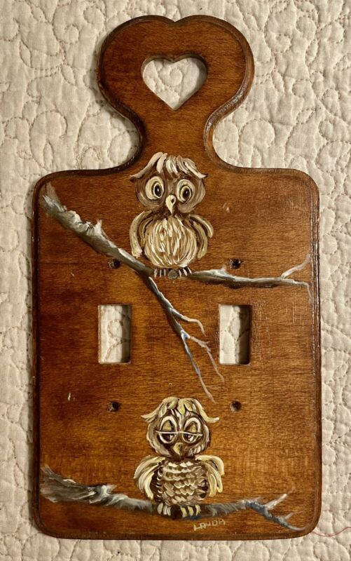 Vintage Owl Double Switch Plate Cover Artist Signed