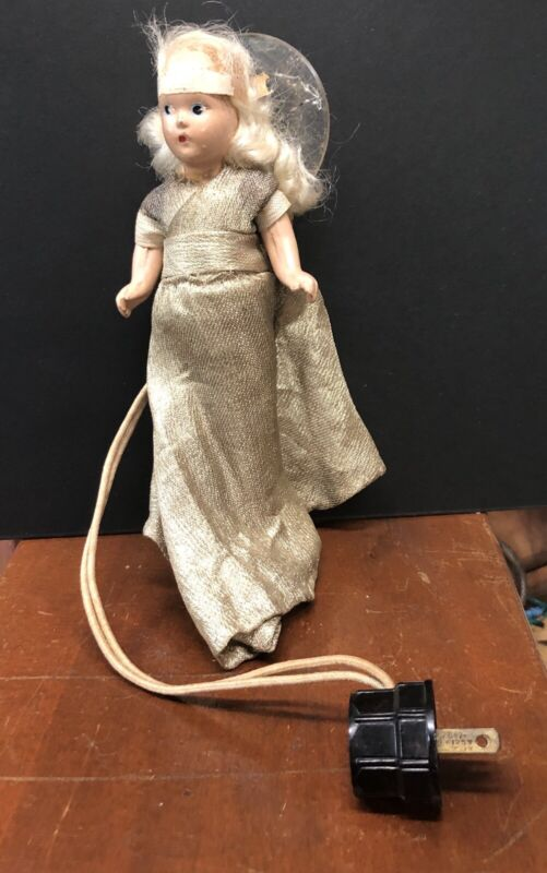 Vintage Christmas Lighted Tree Topper Angel Composition Doll Electric