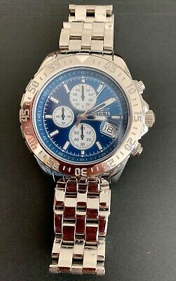 Invicta Mens 47MM Aviator Maverick Blue Dial Silver Tone SS Bracelet Watch