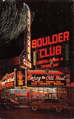 Las Vegas Nevada~Boulder Club Neon Night Lights~Bets From a Dime Up~1950s Cars
