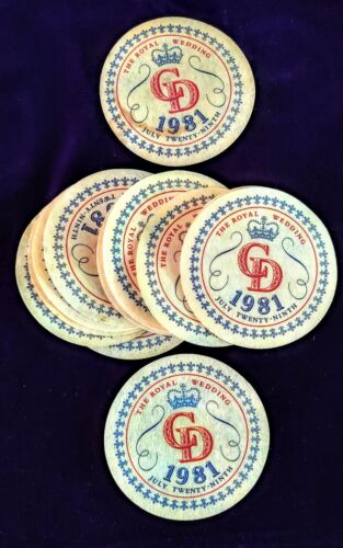 Vintage THE ROYAL WEDDING 15 COASTERS COMMEMORATES CHARLES & DIANA July 29 1981