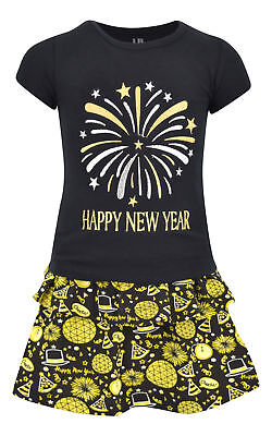 Girls Happy New Year 2 Piece Skirt Set Outfit Boutique Toddler Kids Clothes ()
