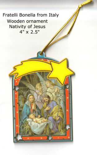 Holy Family / Nativity Ornament Wood, Made In Italy With Star Fratelli Bonella