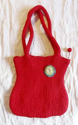 Filztasche♥ Rot♥mit Jeans-Brosche-Motiv Eule-Glitzer♥handgefilzt♥Reißverschluß♥ ()