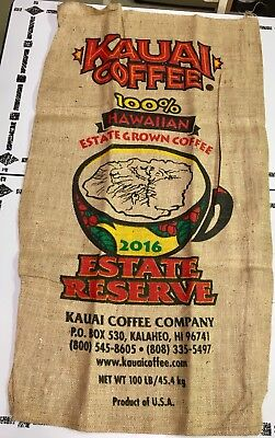 2016 Kauai Coffee Beans 100# Burlap Bag 22x39 Sack Cup Estate Kalaheo Hawaii