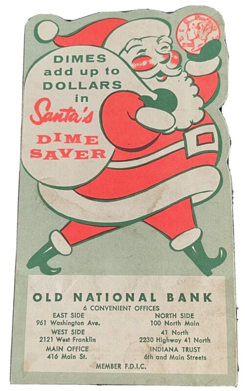 Vintage Old National Bank Evansville Christmas Club Dime Saver Heavy Card