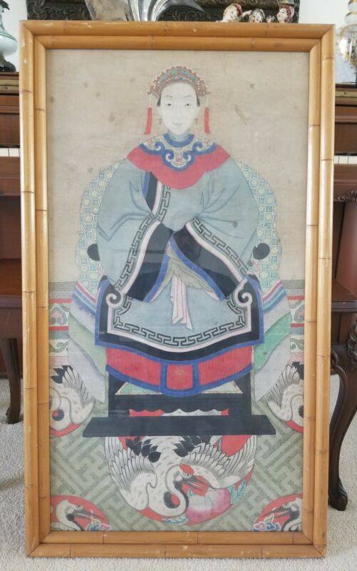 """Antique Chinese Ancestral Painting 39""""x22.5"""""""