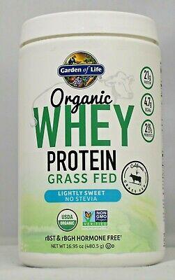 Organic Whey Protein Grass Fed Lightly Sweet Garden Of Life 16.95 oz Organic Whey Protein Powder