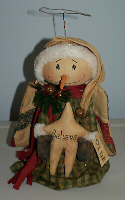 Primitive Americana Folk Art Olde Angel Snowman Believe Christmas Tree Topper