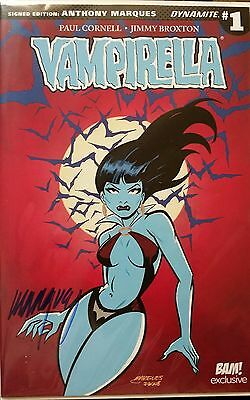 VAMPIRELLA #1 EXCLUSIVE Bam Box ANTHONY MARQUES Signed DYNAMITE  Comic Autograph