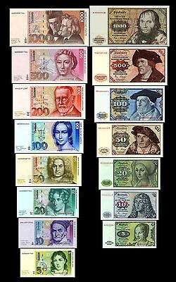 5,10,20,50,100,200,500,1000 DM Banknotes 1980,1991 - 2 Sets - 15 Banknotes