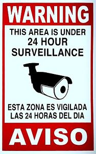 Security Video Surveillance Warning Signs burglar 24 Hour CCTV Plastic Sign