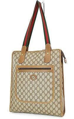 Authentic Vintage GUCCI Brown GG PVC Canvas and Leather Tote Bag Purse #37388