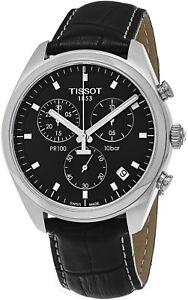 Tissot Men's Pr 100 Black Leather Strap Chronograph Quartz Watch T1014171605100
