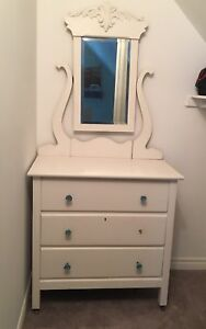 Vintage painted dresser with mirror