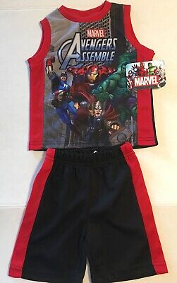 Captain America 2 Outfit (New Toddler Boys Avengers Assemble 2 Piece Outfit 2T Iron Man Captain)