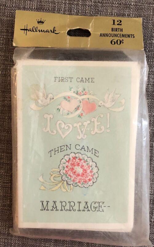 Vintage Hallmark Birth Baby Announcements New 12 Cards & Envelopes Adorable