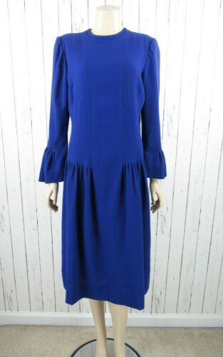 Vintage Pauline Trigere Roomy Purple Wool Pleated Dress Bell Sleeves Size 10