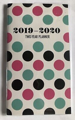 2019- 2020 Polka Dot Two Year Planner Pocket Calendar Organizer Pink Mint -