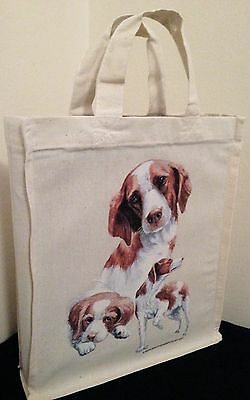 Brittany Spaniel Natural Cotton Small Fun Party Bag Tote with Gusset Useful Gift