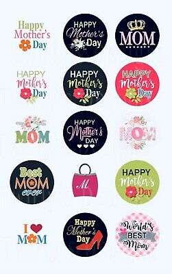 Mother's Day 1 inch 15 pcs. Precut Bottle Cap Images Best Mom ever World's