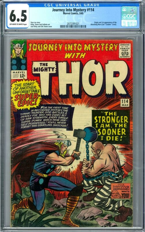 Journey Into Mystery #114 CGC 6.5 (OW-W) Origin & 1st App of the Absorbing Man