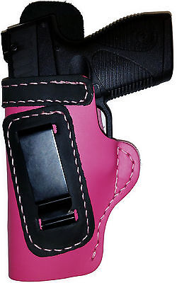 PINK w/BLACK IWB Leather Gun Holster YOUR CHOICE:rh,lh-laser