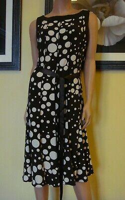 SANDRA DARREN sz 14 Beautiful Brown & Cream Dot Print Jersey (Dot Print Jersey)