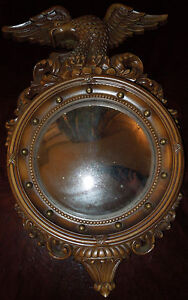 Vintage-Federal-Eagle-Convex-Wall-Mirror-SYROCO-4410-1960-Composite-Resin-Ex-CD