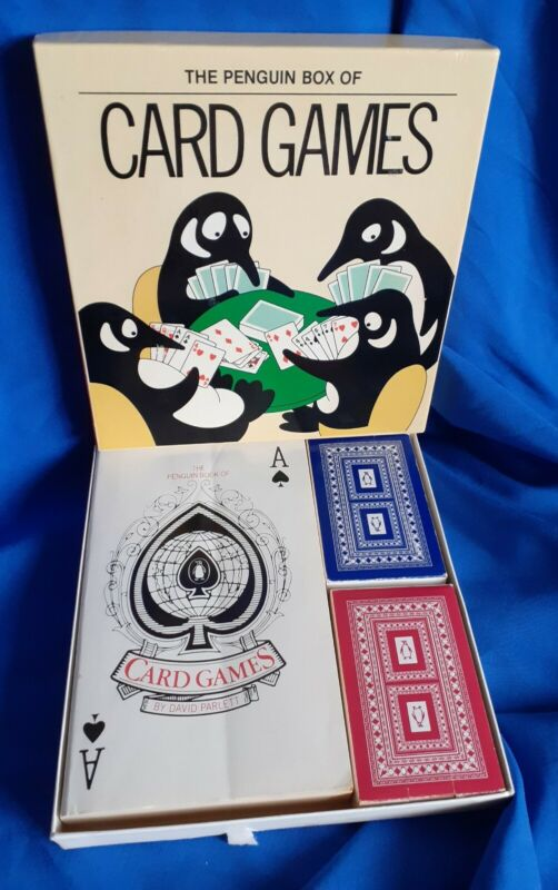 Vintage Retro The Penguin Box of Card Games - Book & 2 Packs Of Cards