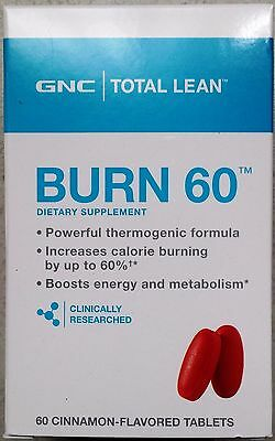 New Gnc Total Lean Burn 60   Cinnamon Flavored 60 Tablets  Fat   Calorie Burners