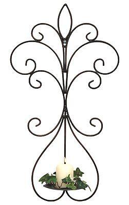 Candelabro de Pared Metal Antiguo Negro 12107 Candelero 58cm Hierro Forjado